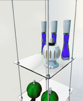 Hanging Glass Shelves Rod Systems