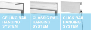 Rail hanging system for art and displays