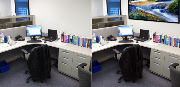 Office with and without art