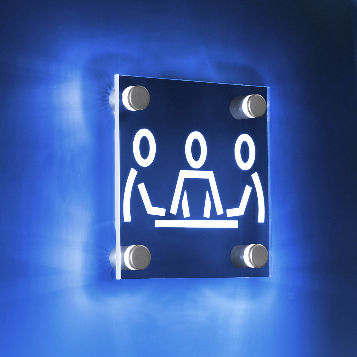 4 - BLUE LED Illuminated Standoff (1'' x 1'' Silver satin aluminum finish) Mount Kit Supports Signs Up To 3/8'' Thick, Wall Mount, Low Voltage transformer included.