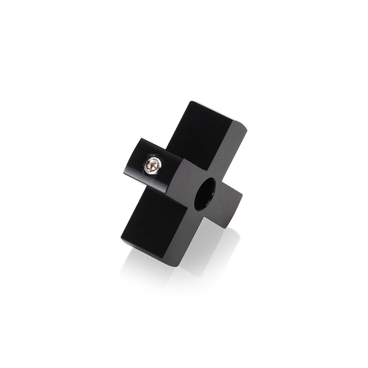 4-Way Standoffs Hub, Diameter: 1 1/2'', Thickness: 1/2'', Black Anodized Aluminum