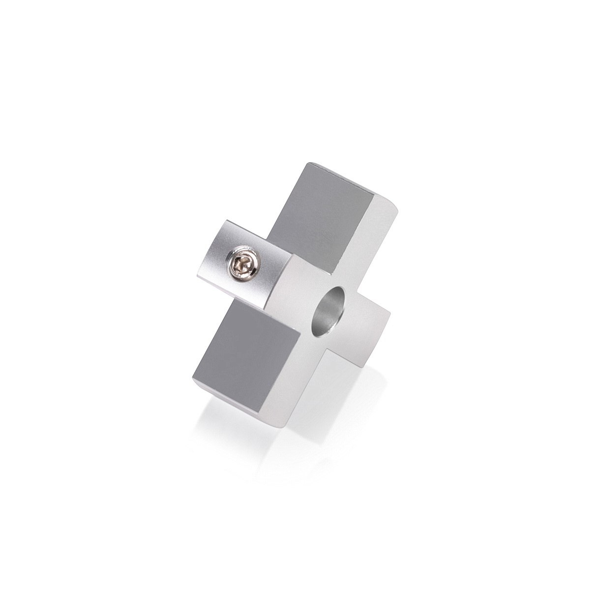 4-Way Standoffs Hub, Diameter: 1 1/2'', Thickness: 1/2'', Clear Anodized Aluminum