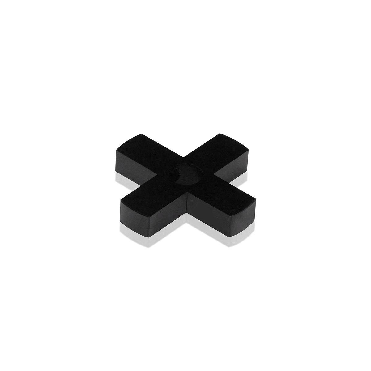 4-Way Standoffs Hub, Diameter: 1 1/2'', Thickness: 1/4'', Black Anodized Aluminum