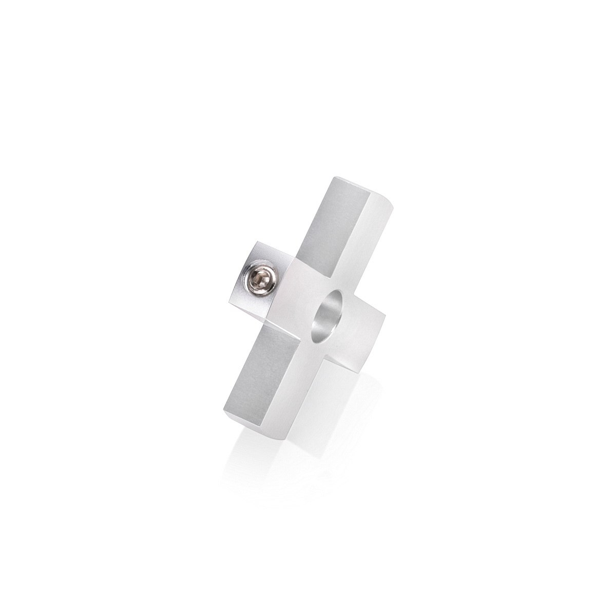 4-Way Standoffs Hub, Diameter: 1 1/2'', Thickness: 1/4'', Clear Anodized Aluminum