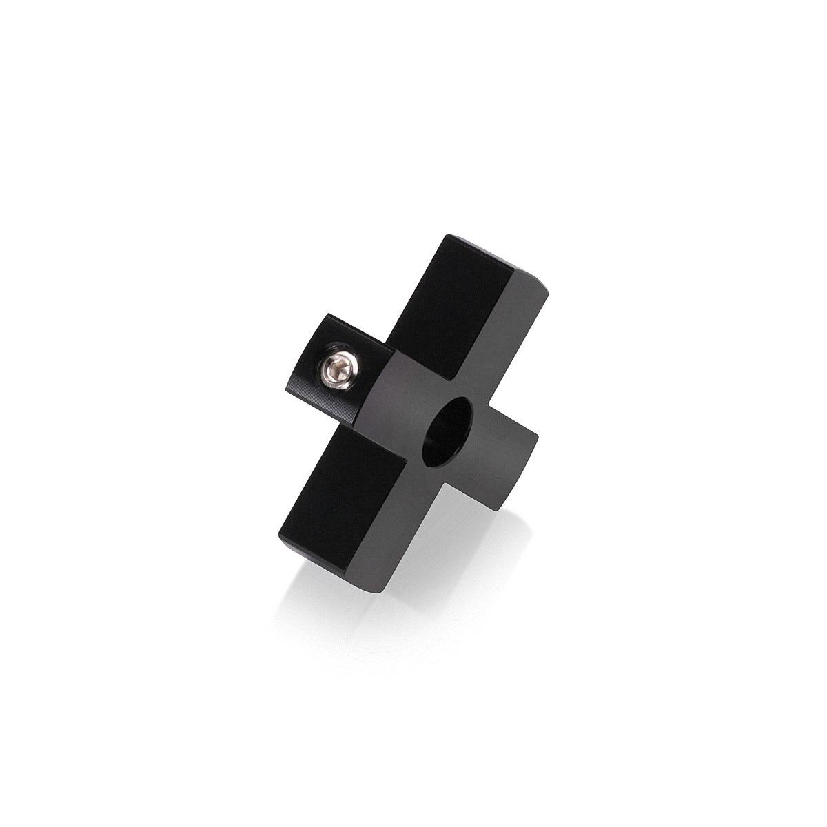 4-Way Standoffs Hub, Diameter: 1 1/2'', Thickness: 3/8'', Black Anodized Aluminum