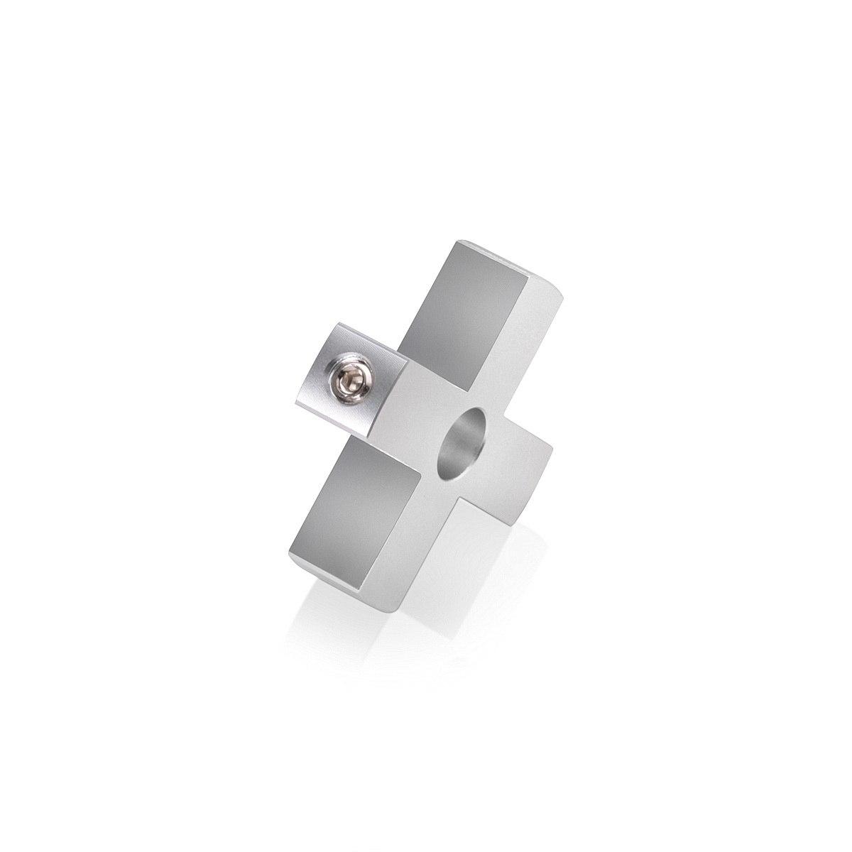 4-Way Standoffs Hub, Diameter: 1 1/2'', Thickness: 3/8'', Clear Anodized Aluminum