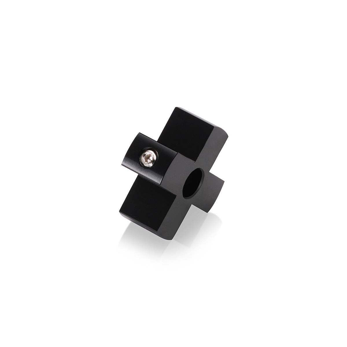 4-Way Standoffs Hub, Diameter: 1 1/4'', Thickness: 1/2'', Black Anodized Aluminum