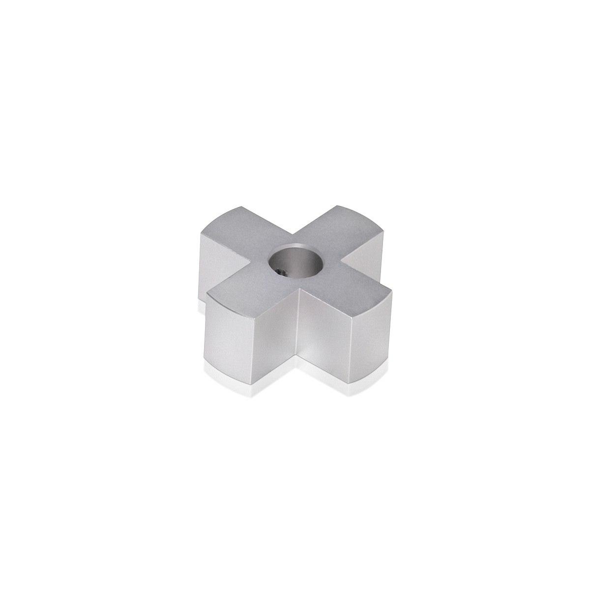4-Way Standoffs Hub, Diameter: 1 1/4'', Thickness: 1/2'', Clear Anodized Aluminum