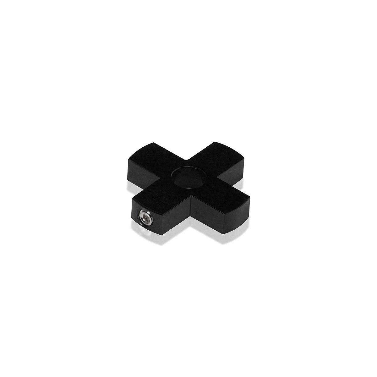 4-Way Standoffs Hub, Diameter: 1 1/4'', Thickness: 1/4'', Black Anodized Aluminum