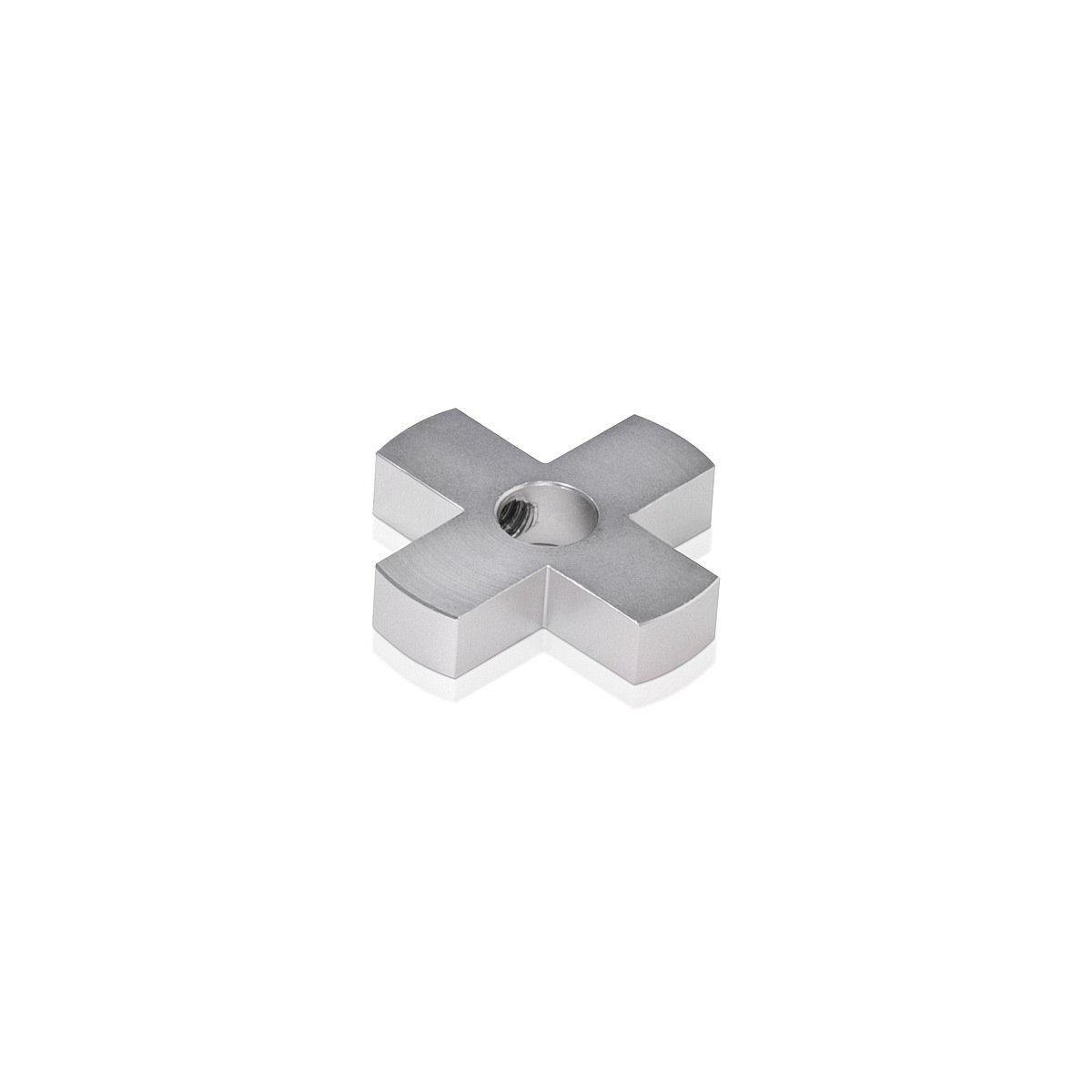 4-Way Standoffs Hub, Diameter: 1 1/4'', Thickness: 1/4'', Clear Anodized Aluminum