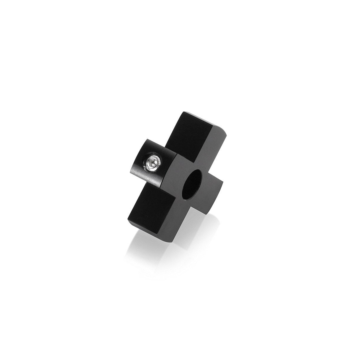 4-Way Standoffs Hub, Diameter: 1 1/4'', Thickness: 3/8'', Black Anodized Aluminum