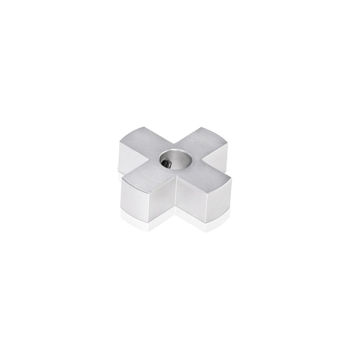 4-Way Standoffs Hub, Diameter: 1 1/4'', Thickness: 3/8'', Clear Anodized Aluminum