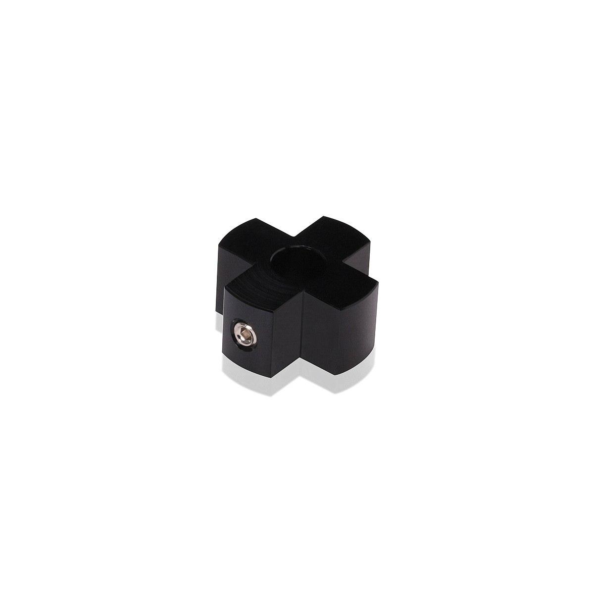 4-Way Standoffs Hub, Diameter: 1'', Thickness: 1/2'', Black Anodized Aluminum