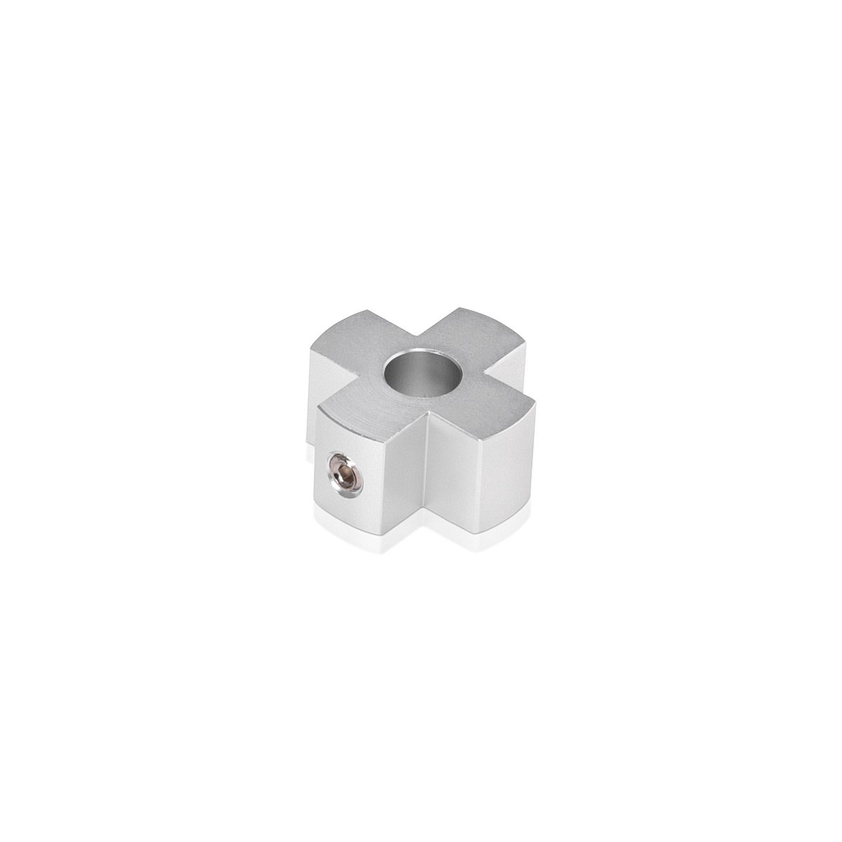 4-Way Standoffs Hub, Diameter: 1'', Thickness: 1/2'', Clear Anodized Aluminum