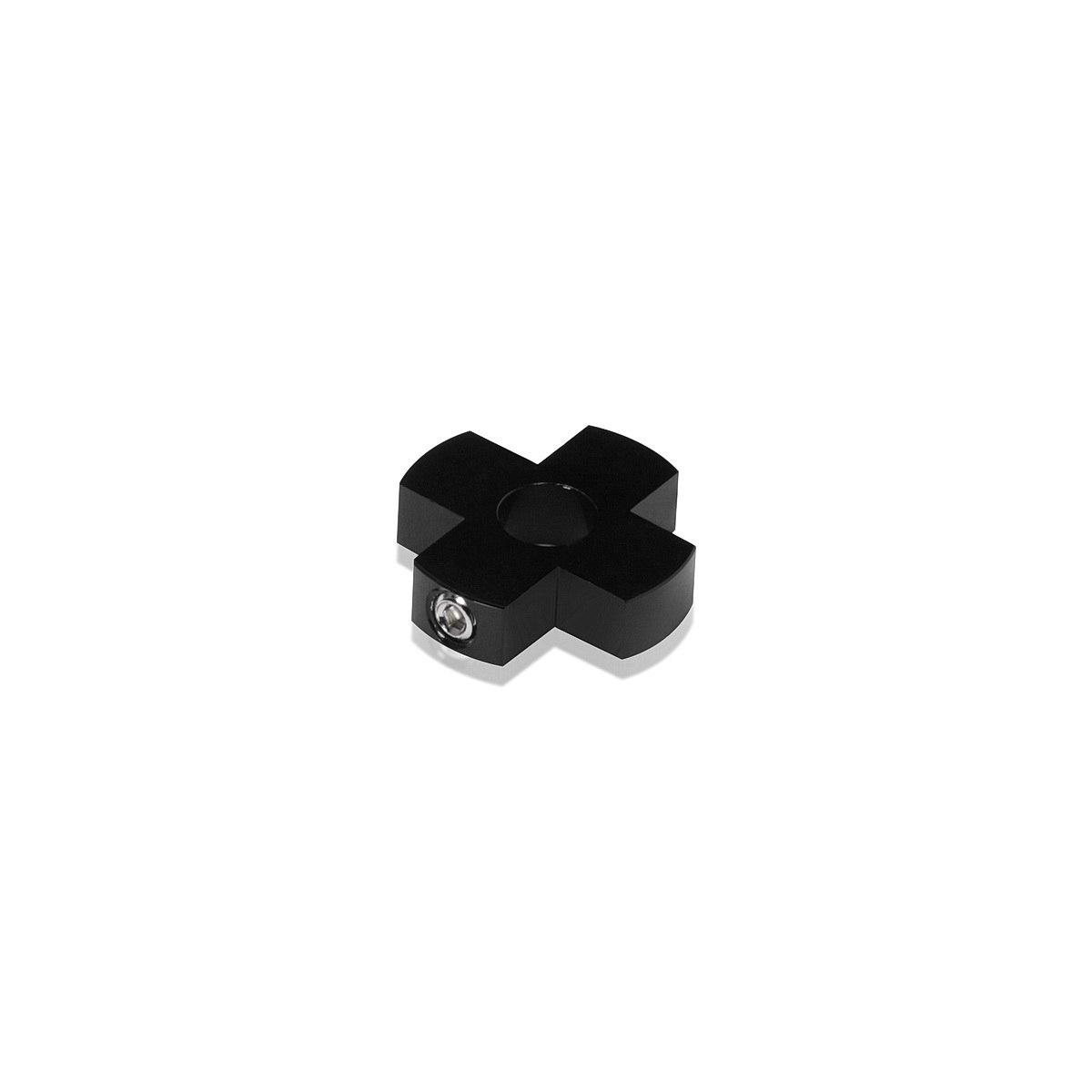 4-Way Standoffs Hub, Diameter: 1'', Thickness: 1/4'', Black Anodized Aluminum