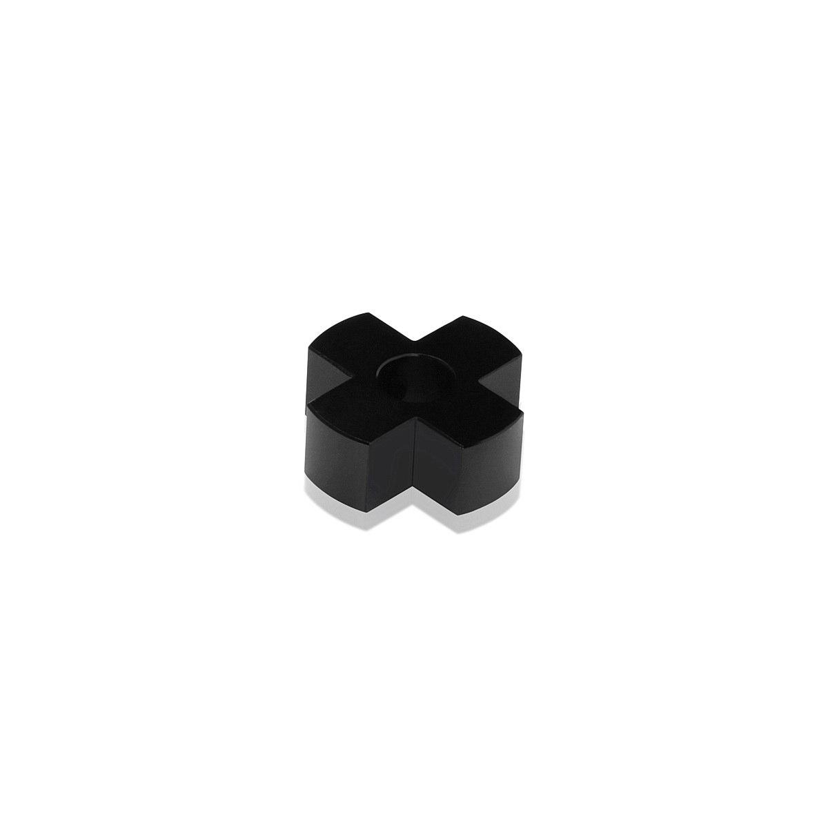 4-Way Standoffs Hub, Diameter: 1'', Thickness: 3/8'', Black Anodized Aluminum