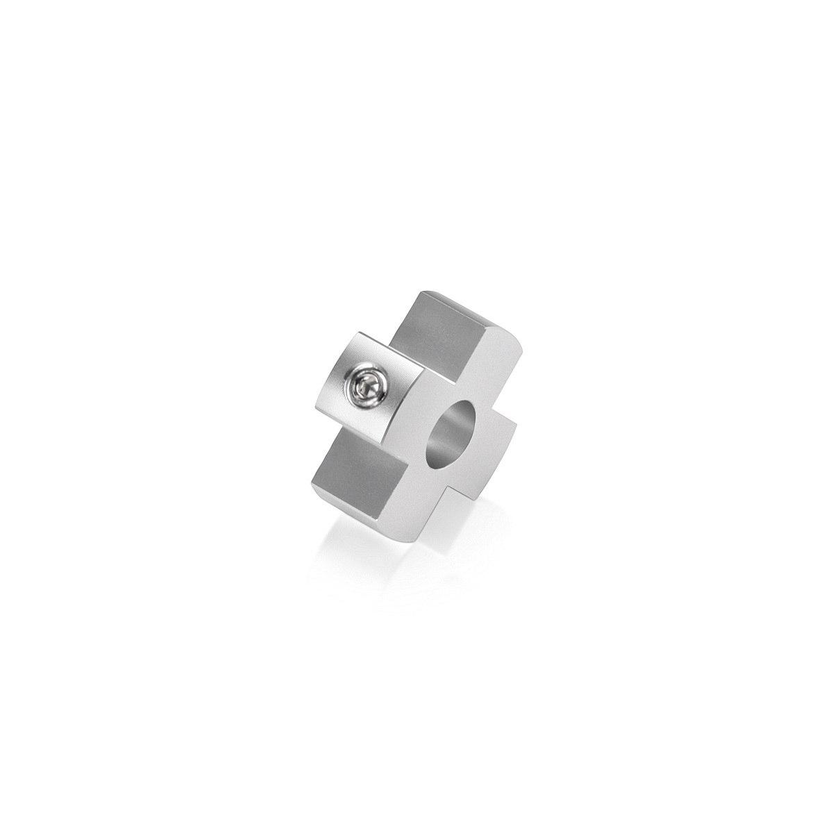 4-Way Standoffs Hub, Diameter: 1'', Thickness: 3/8'', Clear Anodized Aluminum