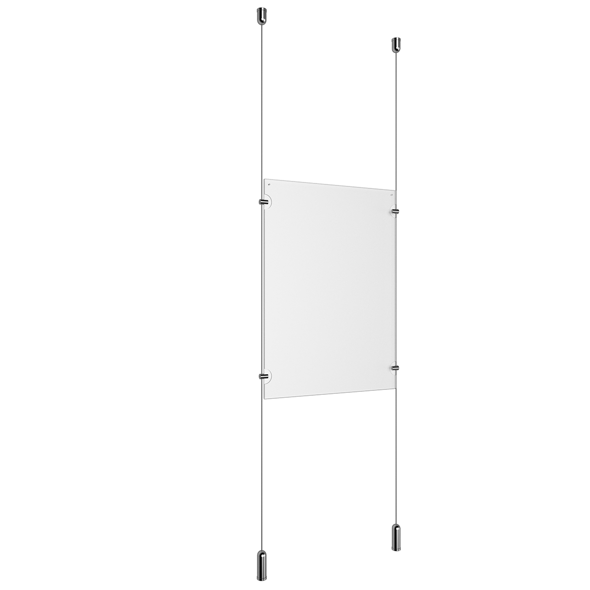 (1) 11'' Width x 17'' Height Clear Acrylic Frame & (2) Ceiling-to-Floor Aluminum Clear Anodized Cable Systems with (4) Single-Sided Panel Grippers
