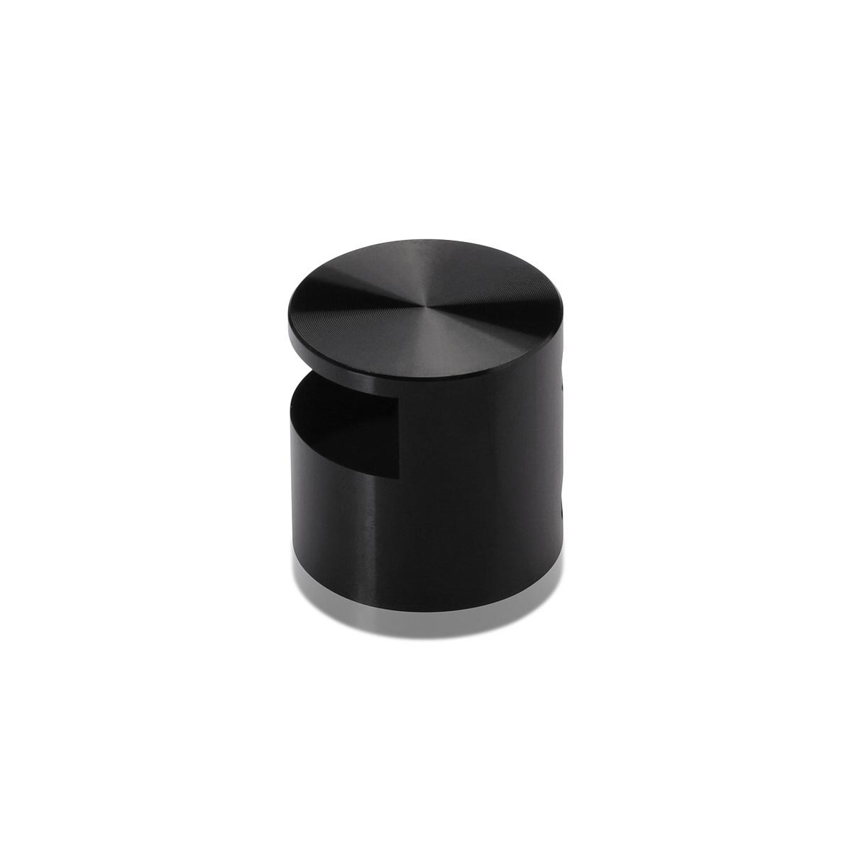 Aluminum Edge Grip, Diameter 1'', Standoff 9/16'' Black Anodize Shiny Finish