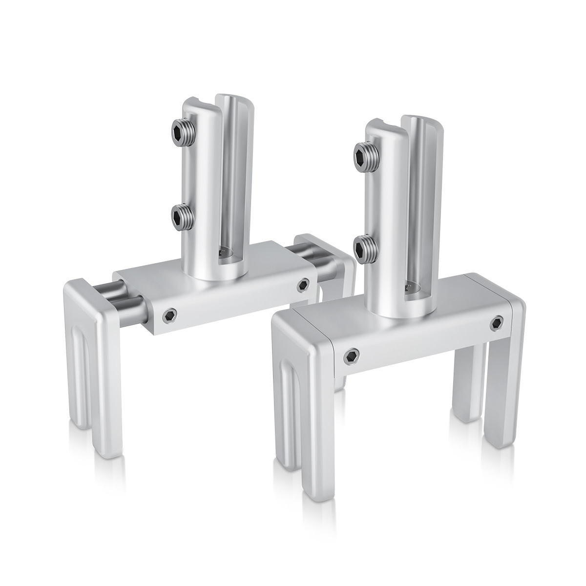 Set of 2, Adjustable Clamp, Aluminum Clear Anodized Finish, to Accommodate 1-3/4'' to 2-3/8'' Cubicle partition. Upt to 1/4'' material accepted on the fork