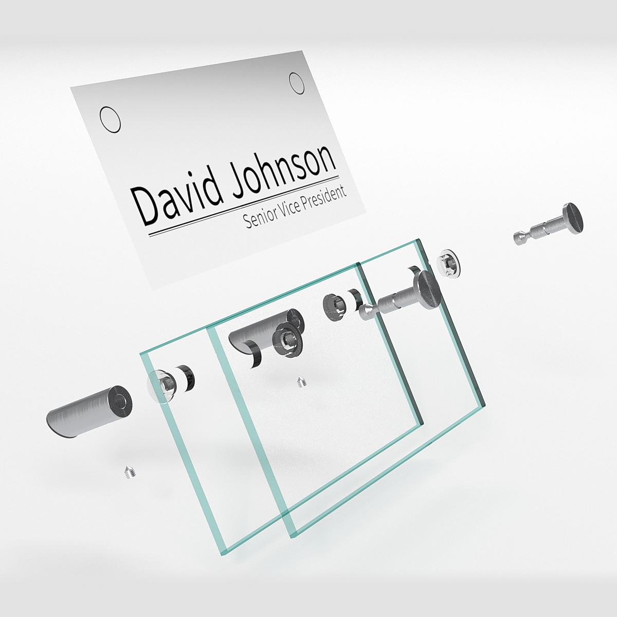 6'' x 3''  Desk Name Plate, 30° Angle,  Full Set with Flat Head Standoffs and tempered glass (Stainless Steel Satin Brushed Standoffs)