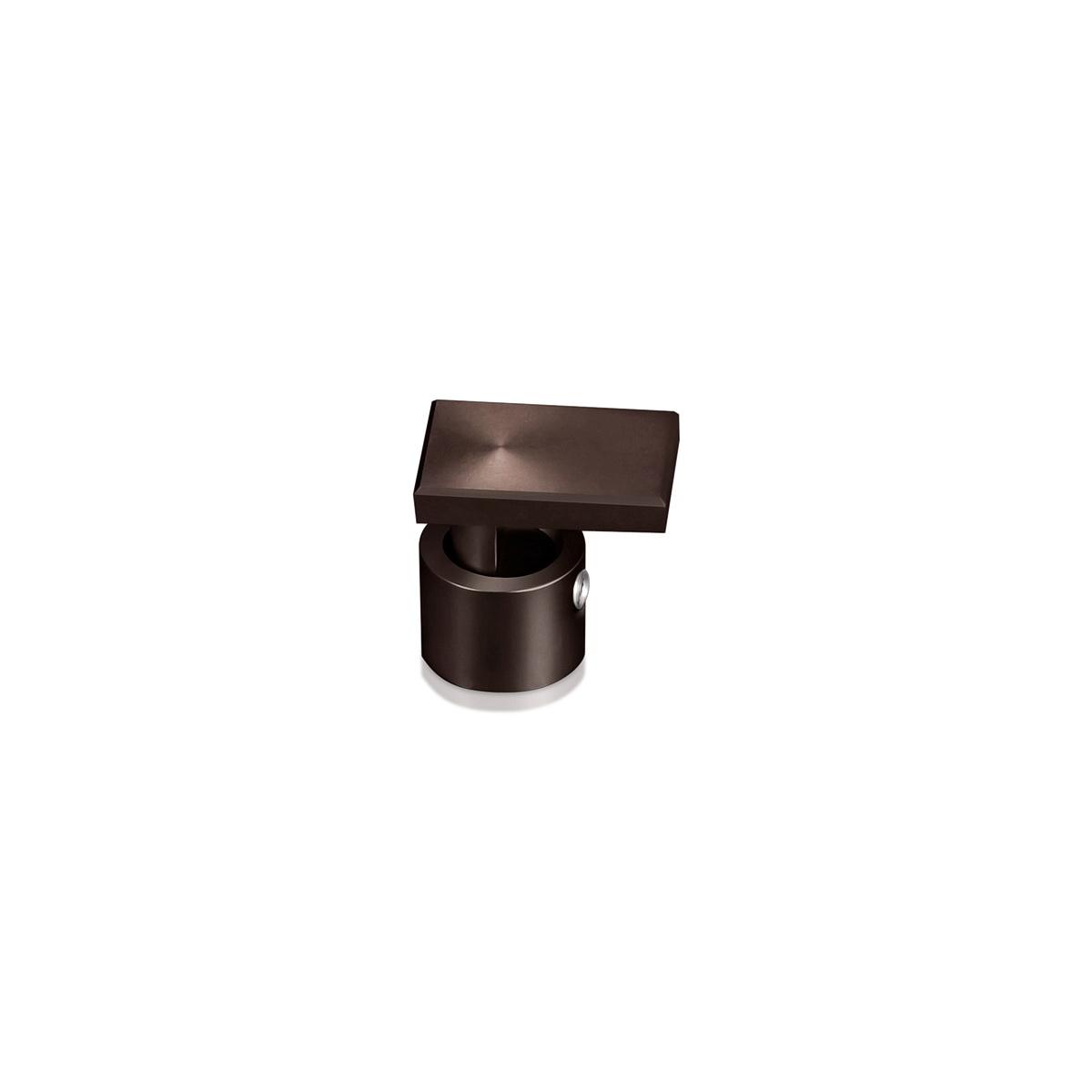Rectangular Aluminum Edge Grip, Diameter 1/2'', Standoff 3/8'' Face: 3/4'' x 1/2'' Bronze Anodize Finish
