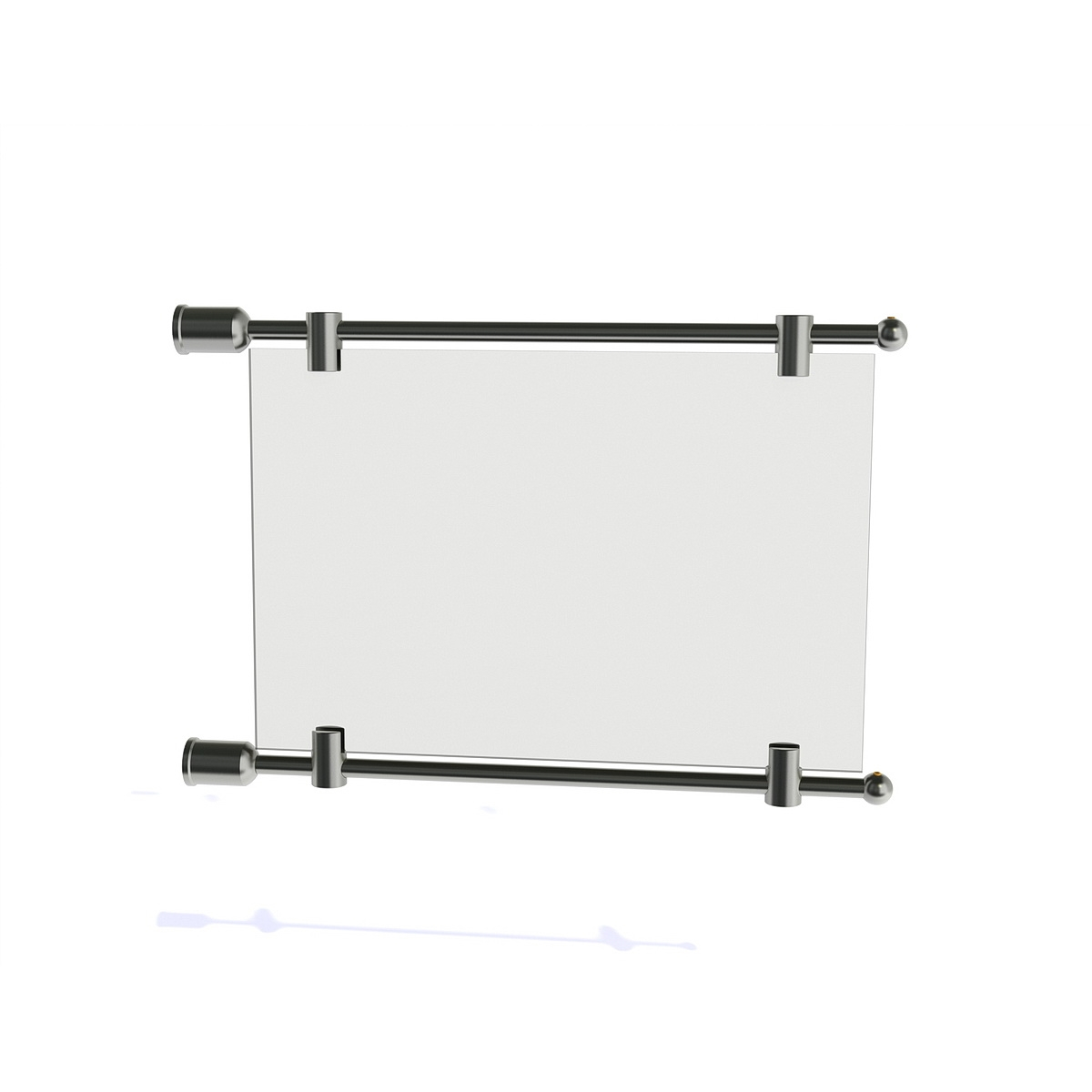 "3/8'' Diameter Rod Projecting Sign, Aluminum Clear Anodized, 13 13/16"" including the wall mounts. Material thickness up to 5/16''"