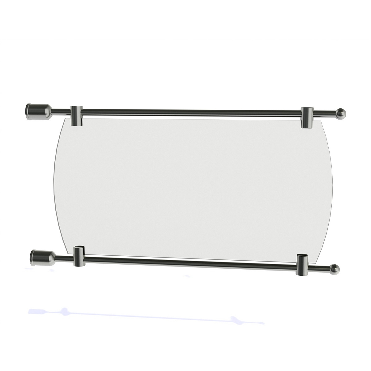 3/8'' Diameter Rod Projecting Sign, Aluminum Clear Anodized, 17 13/16'' including the wall mounts. Material thickness up to 5/16''
