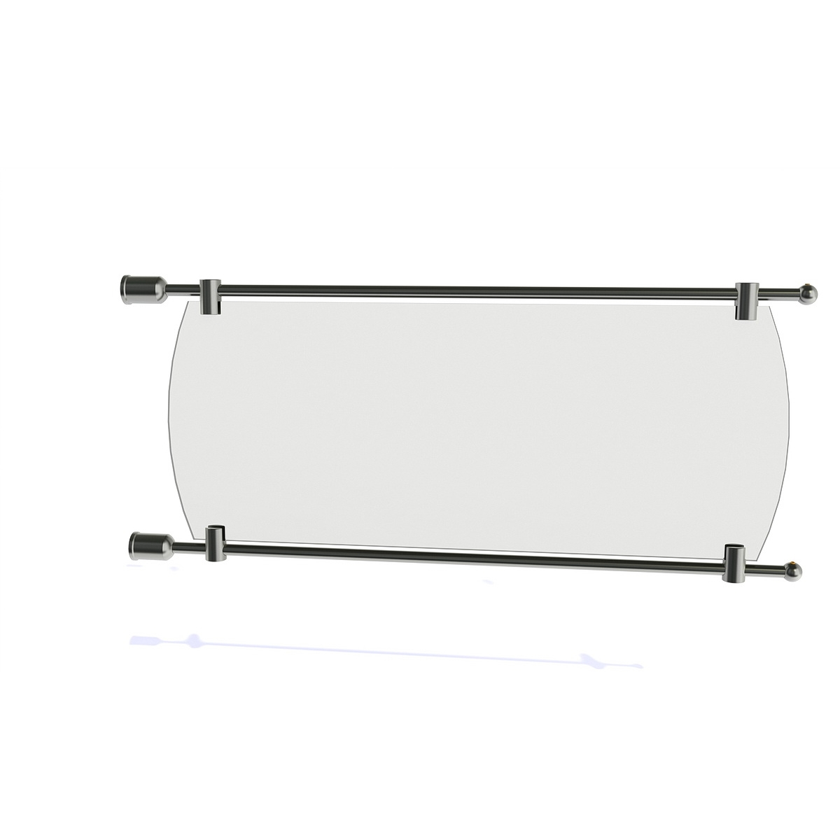 3/8'' Diameter Rod Projecting Sign, Aluminum Clear Anodized, 21 13/16'' including the wall mounts. Material thickness up to 5/16''