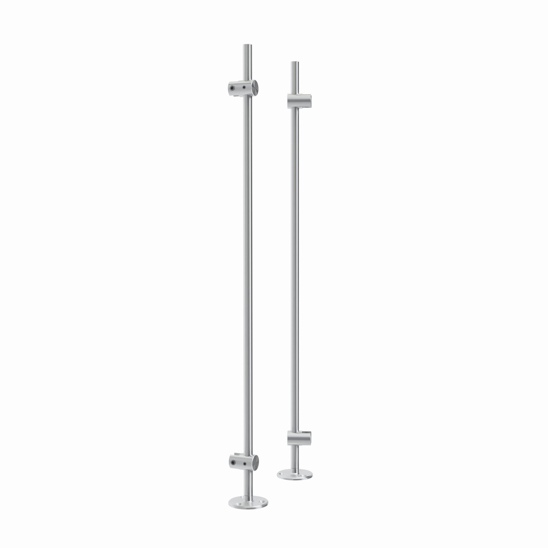 Set of 2, 3/8'' Diameter Rod Projecting Mount, Aluminum Clear Anodized Finish, 20'' Long w/ 3 Holes Mounting Plate, to be installed with screws (Included) or double sided tape (not included). Hold up to 5/16'' material thickness.