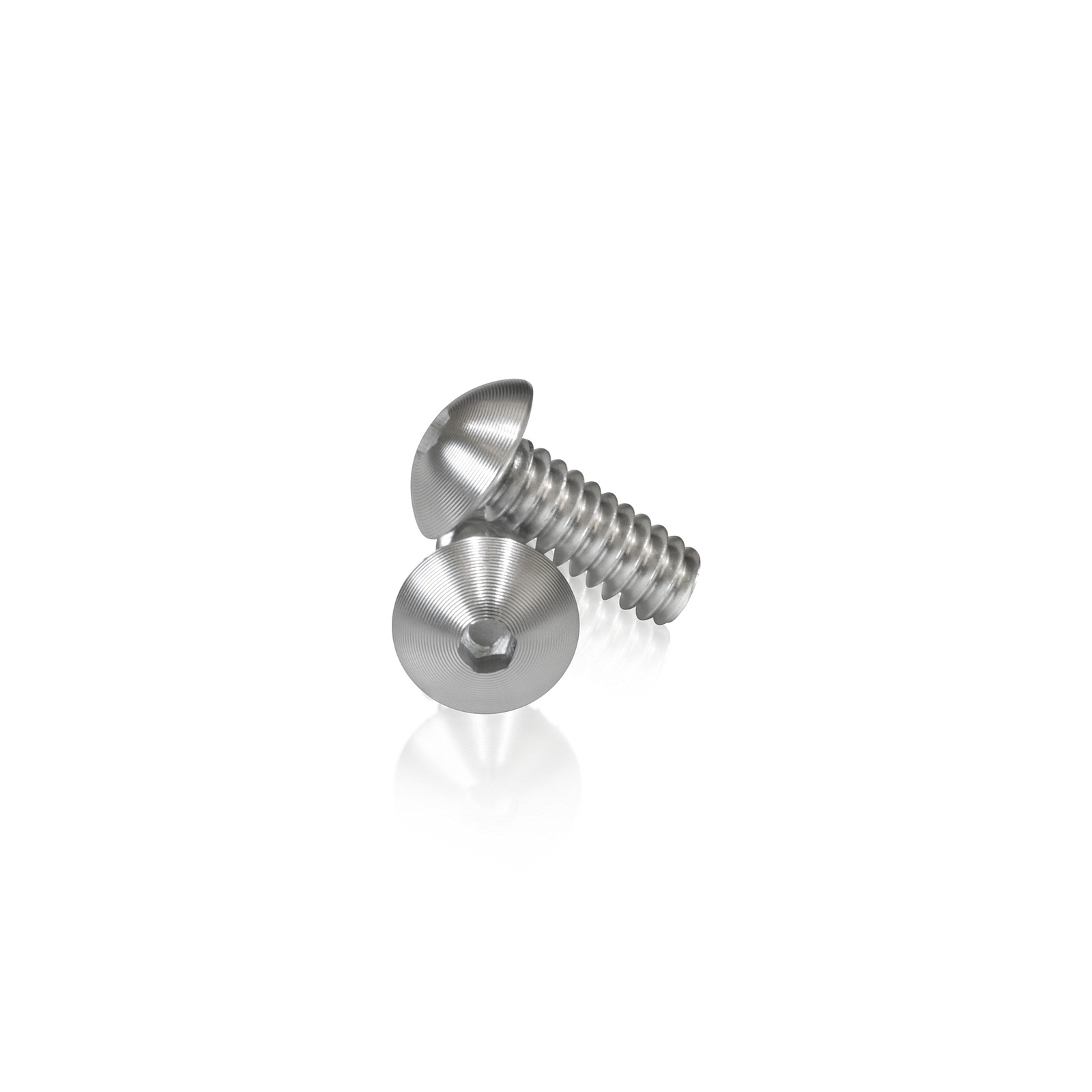 Low Profile Clear Anodized Aluminum Bolt 10-24 Thread, Length 1/2'', 3/32'' Hex Broach