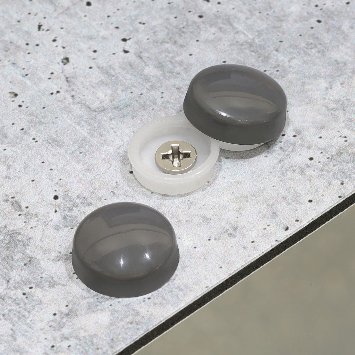 Snap-Cap For Screw #10 & #12 - Charcoal Gloss