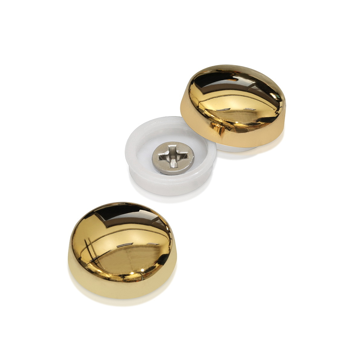 Snap-Cap For Screw #10 & #12 - Electroplated Polished Gold