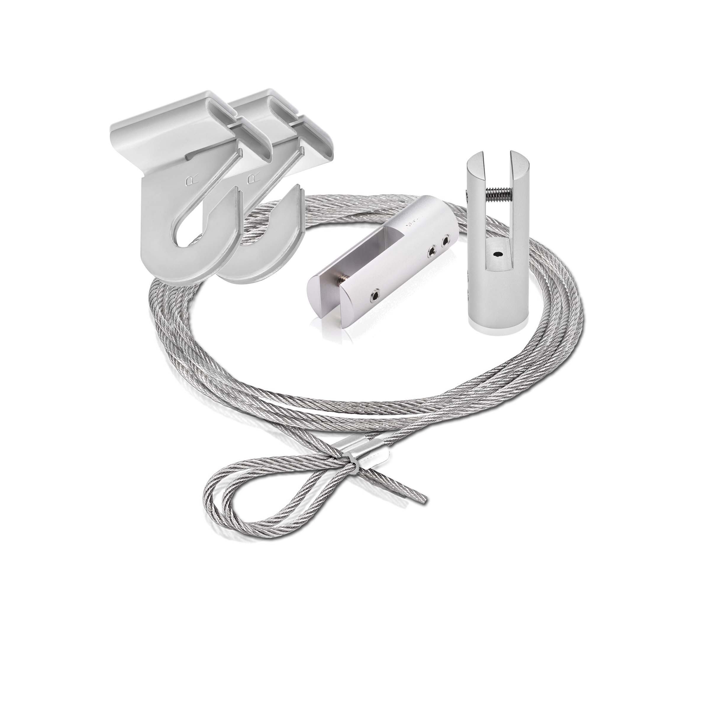 2 piece of 120'' Aluminum Shiny Anodized Suspended Cable Kits (2 Full Sets)