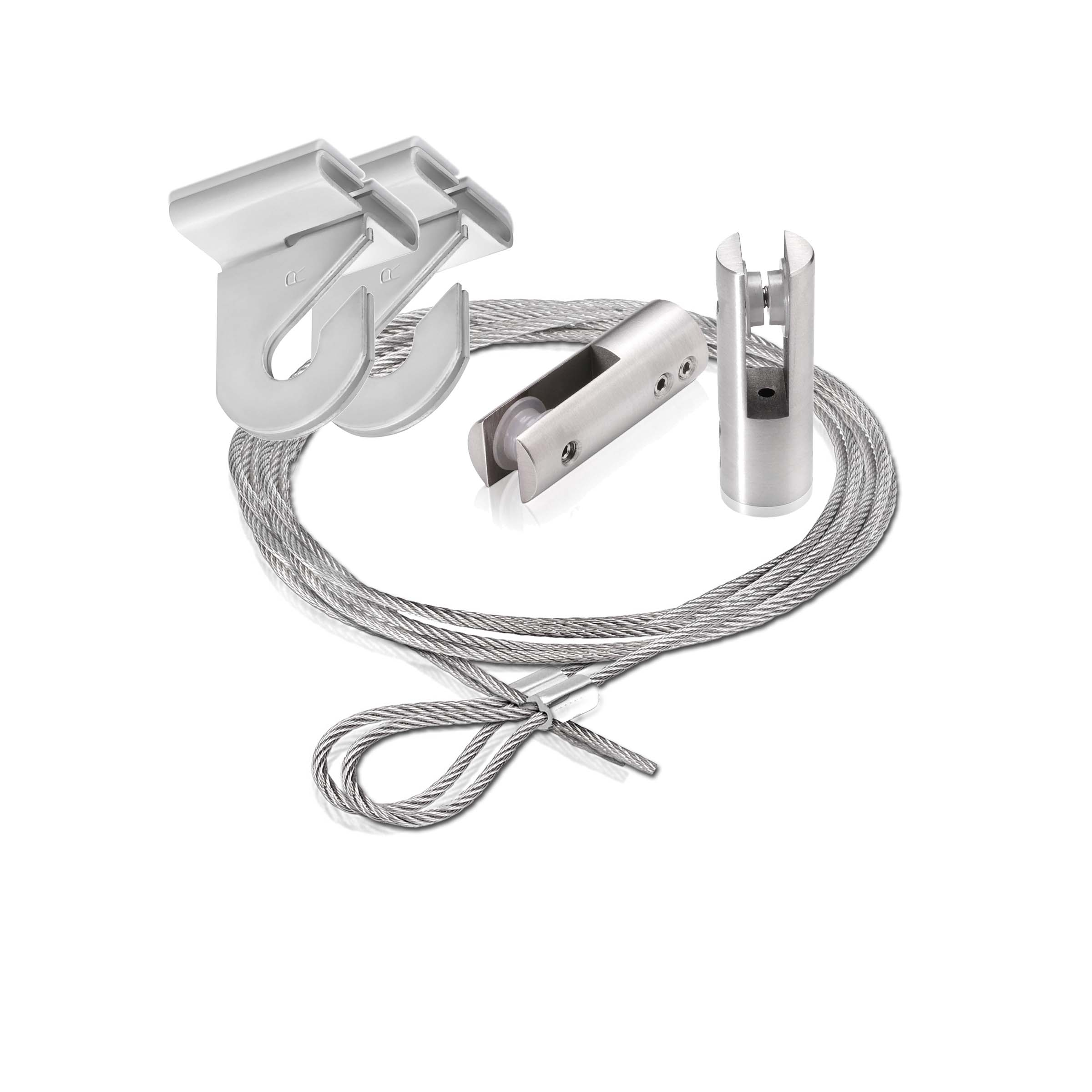 2 piece of 120'' Aluminum Clear Anodized Suspended Cable Kits (2 Full Sets)