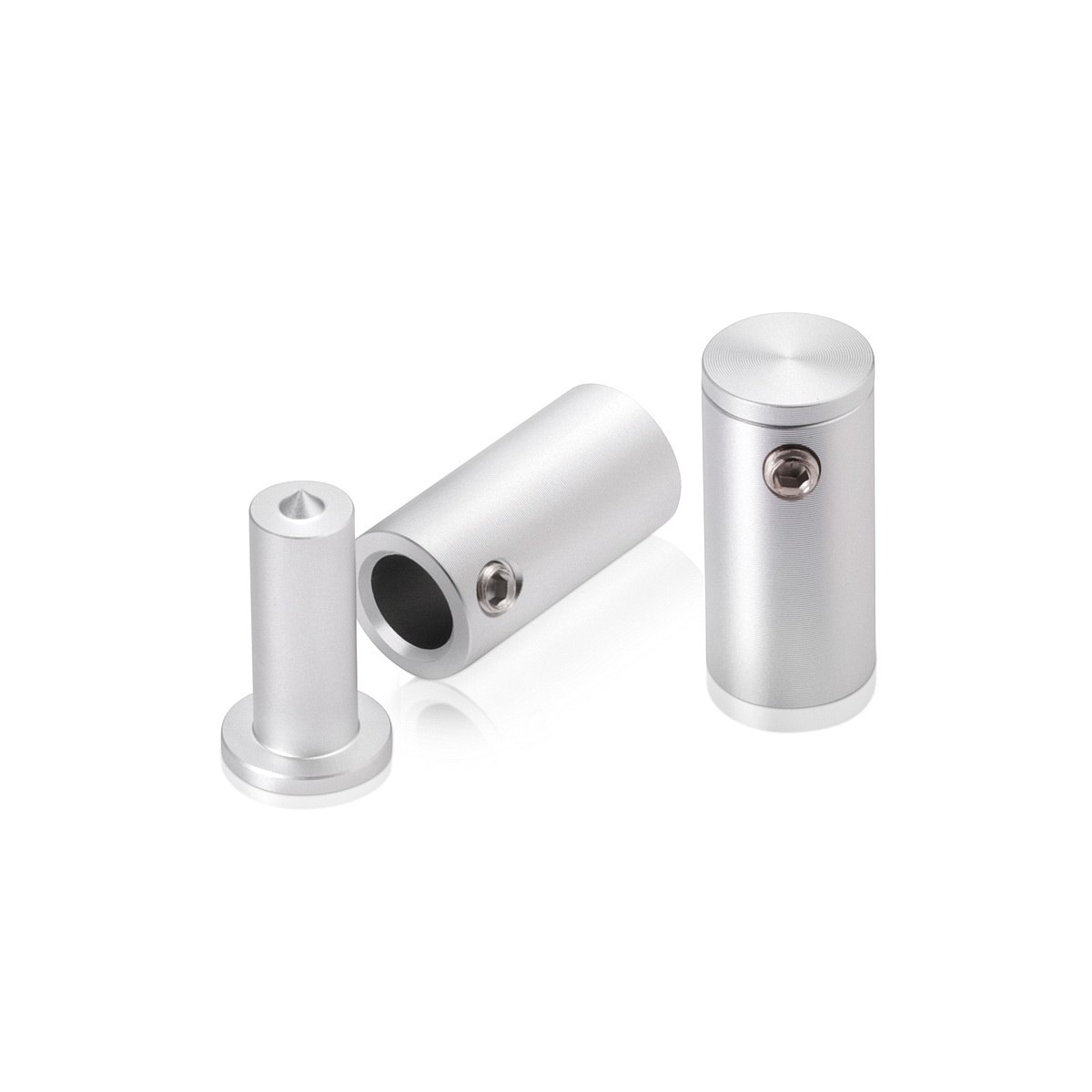 1/2'' Diameter x 1'' Barrel Length, Aluminum Glass Standoff Clear Anodized Finish (Indoor or Outdoor Use)