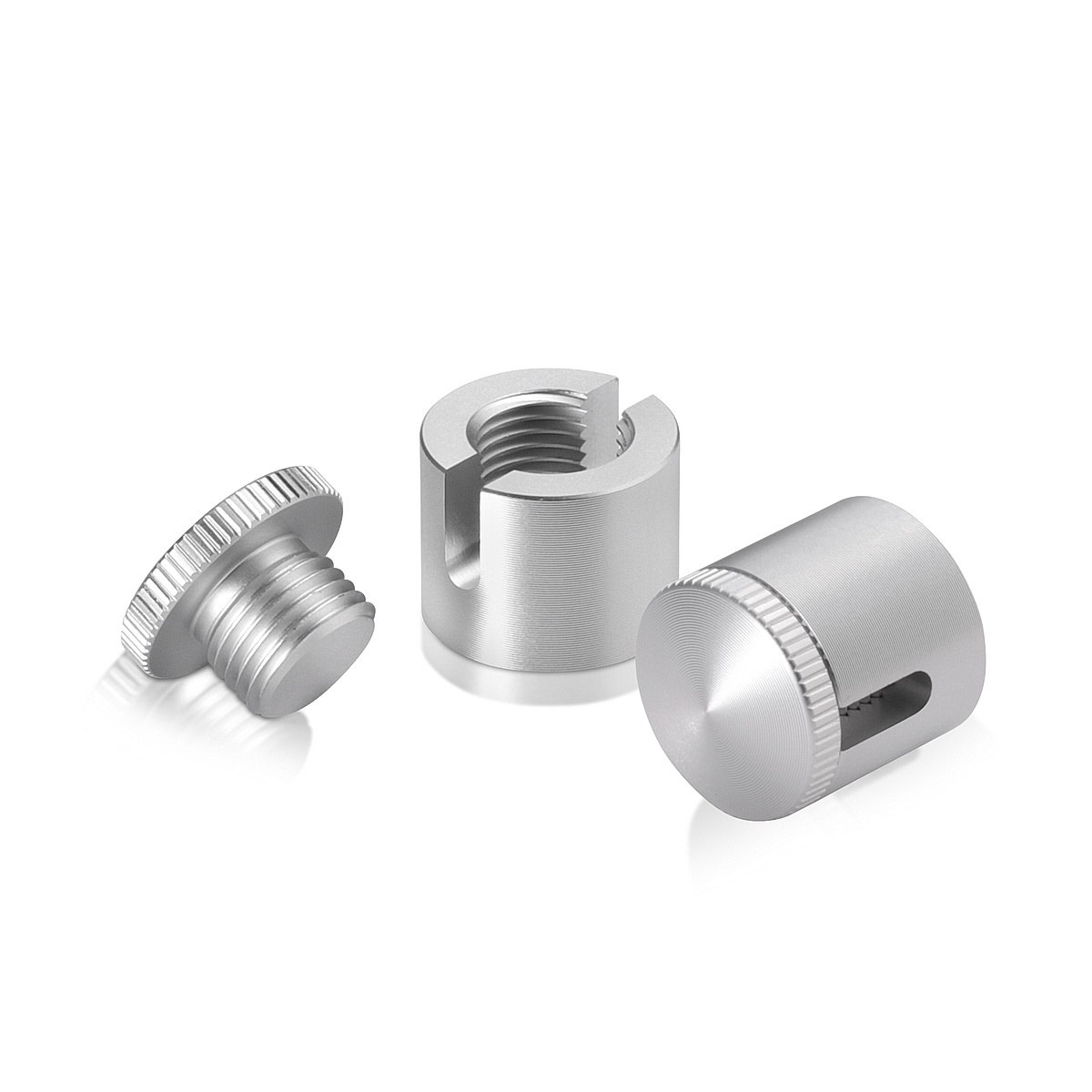 Aluminum Glass Standoff, Diameter: 5/8'', Standoff: 1/2'', Clear Anodized Finish