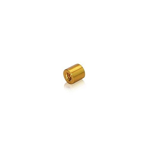 6-32 Threaded Barrels Diameter: 1/4'', Length: 1/4'', Gold Anodized Aluminum