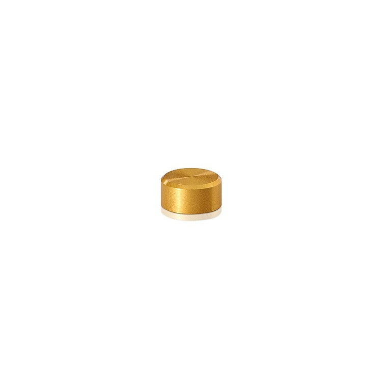 10-24 Threaded Caps Diameter: 1/2'', Height: 1/4'', Gold Anodized Aluminum