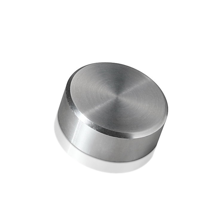 Caps Diameter: 1'', Height 3/8'', Brushed Satin Stainless Steel