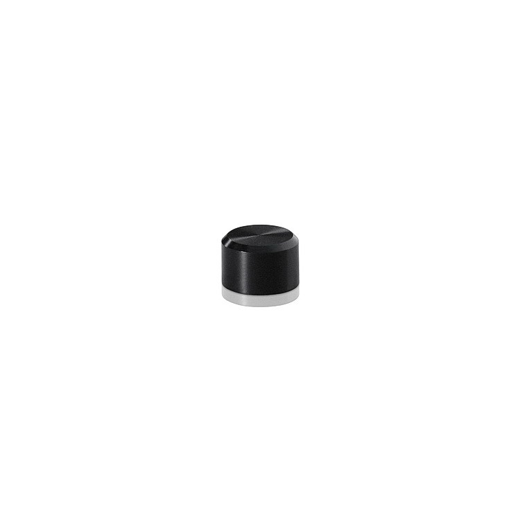 10-24 Threaded Caps Diameter: 3/8'', Height: 1/4'', Black Anodized Aluminum