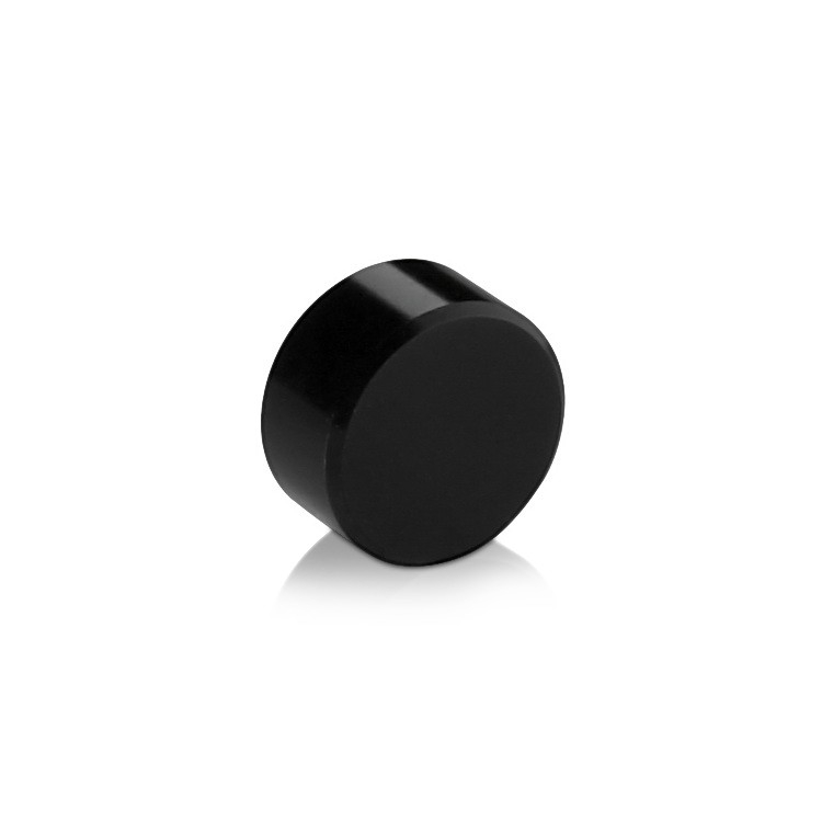5/16-18 Threaded Caps Diameter: 5/8'', Height: 5/16'', Black Anodized Aluminum