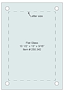 Flat Tempered Glass 10 1/2'' x 13'', 4 pre-drilled 3/8 holes
