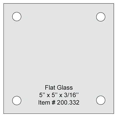 Flat Tempered Glass 5'' x 5'' x 3/16'' thickness, 4 predrilled holes 5/16'' diameter