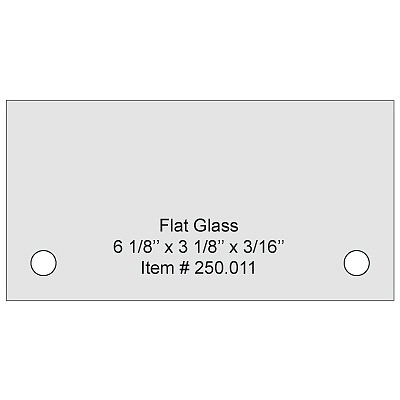 Flat Tempered Glass 6'' x 3 1/8'' x 0.157'', 2 pre-drilled 3/8'' holes