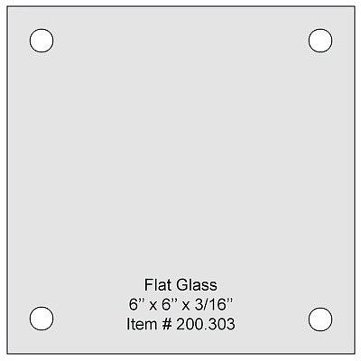 Flat Tempered Glass 6'' x 6'' x 3/16'' thickness, 4 predrilled 3/8 diameter holes