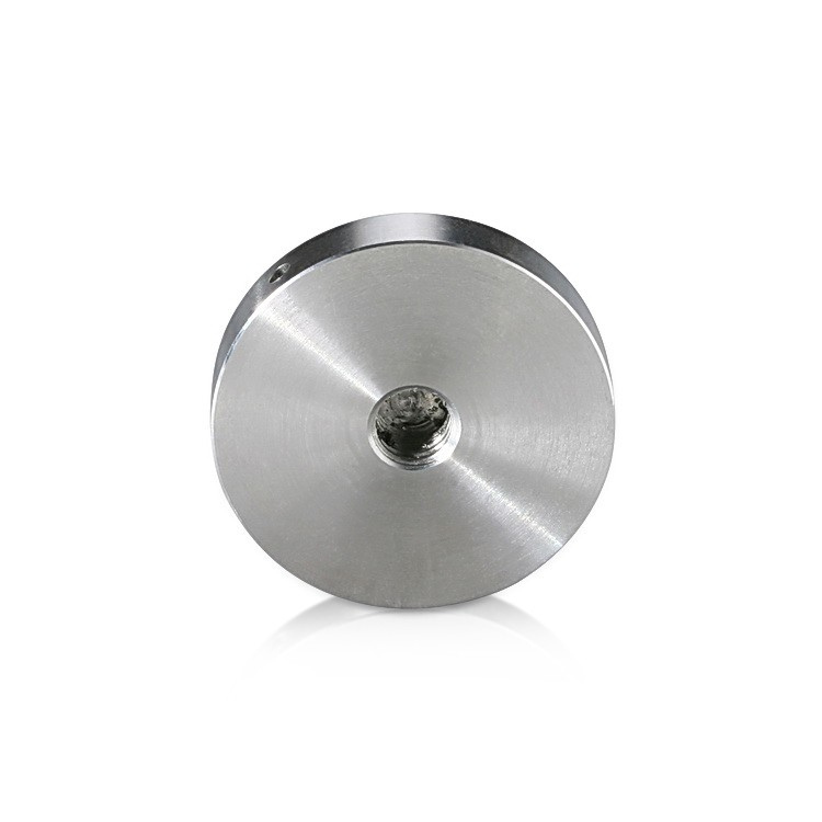 5/16-18 Threaded Locking Caps Diameter: 1 1/2'', Height: 5/16'', Brushed Satin Stainless Steel