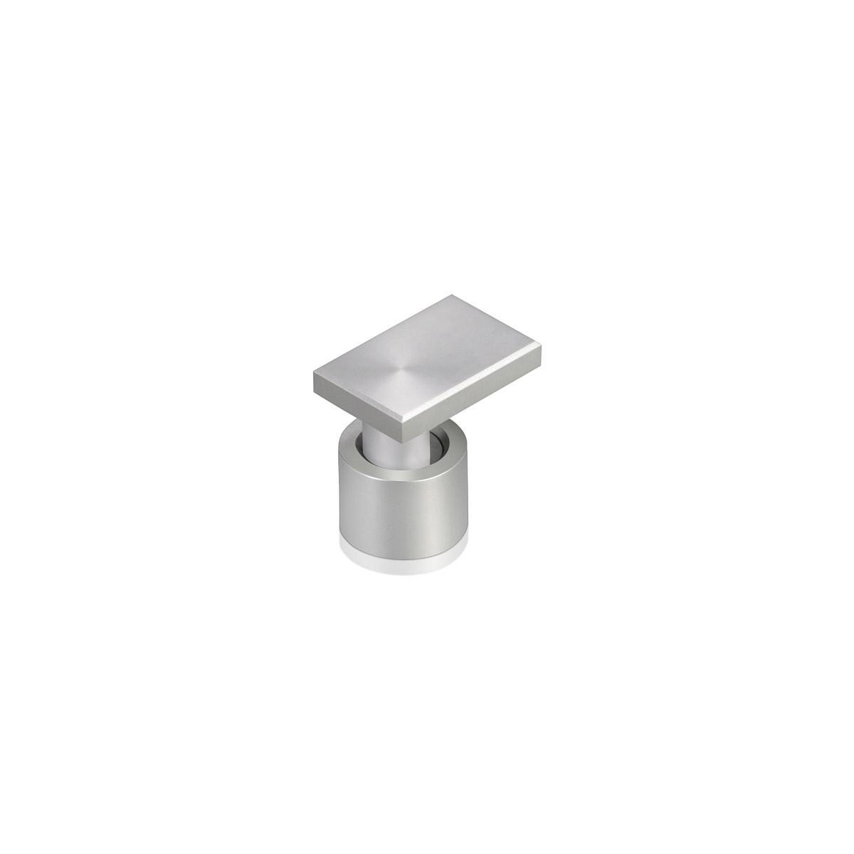 Rectangular Aluminum Edge Grip, Diameter 1/2'', Standoff 3/8'' Face: 3/4'' x 1/2'' Clear Anodize Finish
