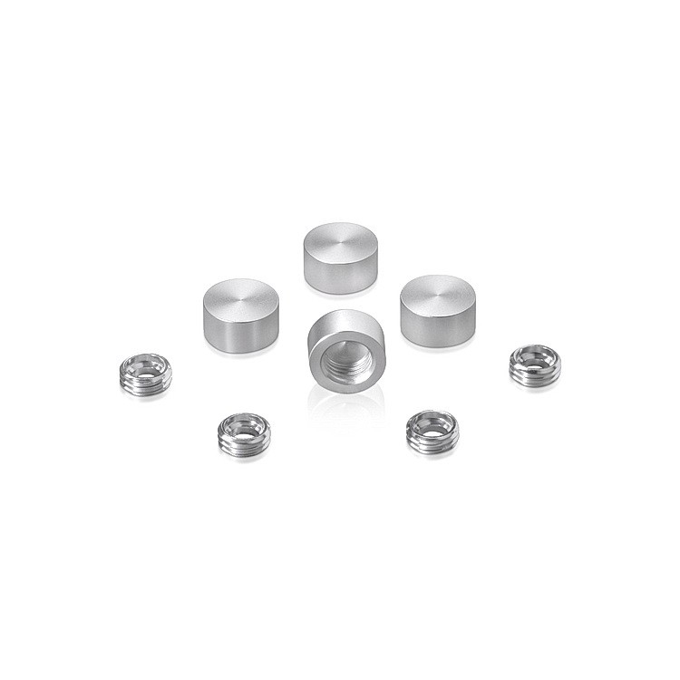 Set of 4 Screw Cover, Diameter: 1/2'', Aluminum Clear Anodized Finish