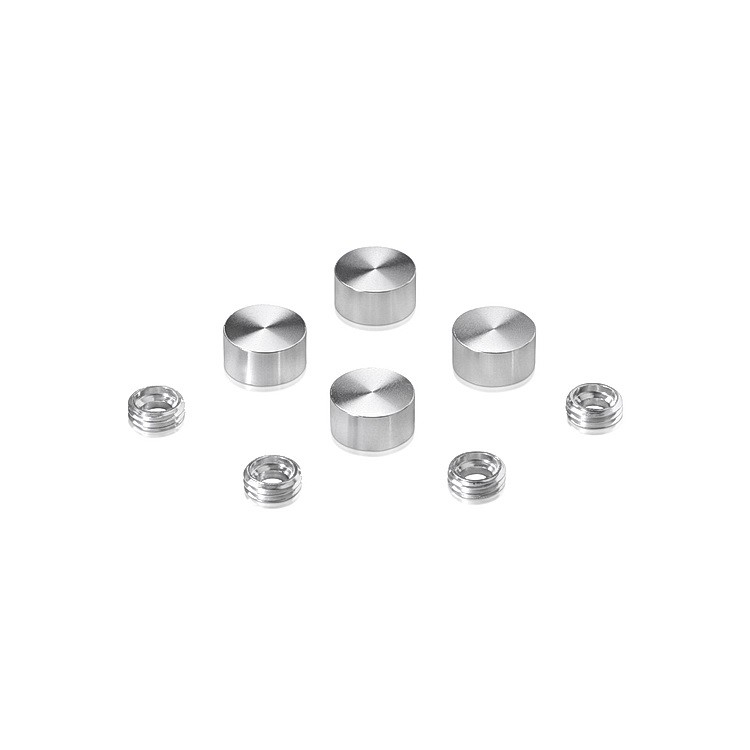 Set of 4 Screw Cover, Diameter: 1/2'', Aluminum Clear Shiny Anodized Finish